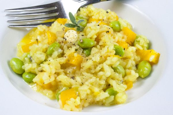 Buttercup, Edamame, Lemon and Sage risotto: simple risotto, simply delicious.