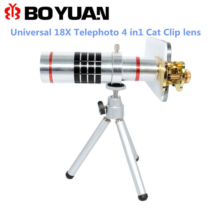 Lens Accessories Universal 18X Telephoto Lens Cat Clip Optical Zoom Camera Phone Lens withTripod Telescope Mobile