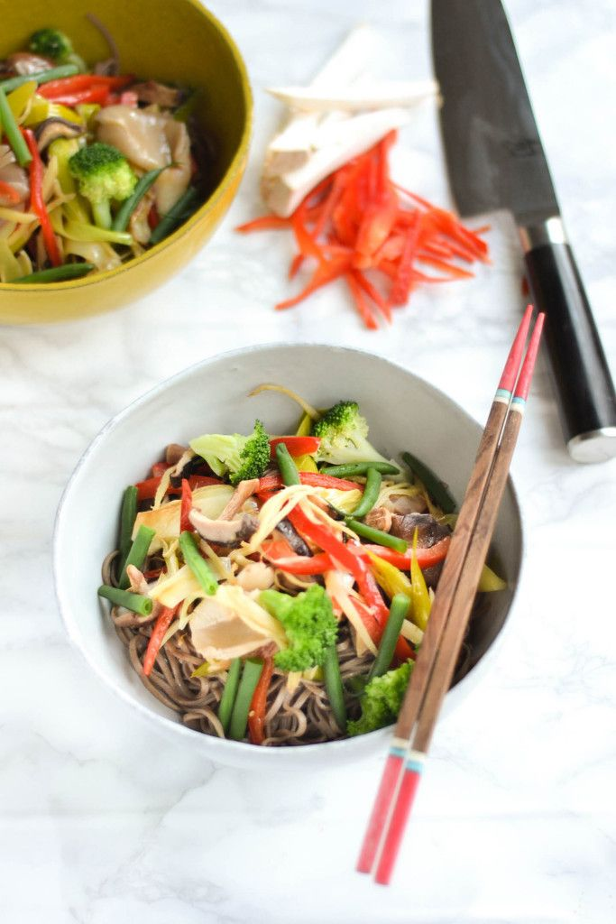 Vegetable Stir Fried Soba Noodles (make gluten free by using tamari sauce in place of soy sauce and using 100% buckwheat noodles)