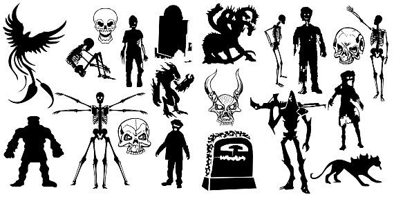 Halloween monsters, ghosts, witch, alien. Clipart silhouette vector HQ 300dpi commercial and personal use instant download, BIG PACK 75 pcs