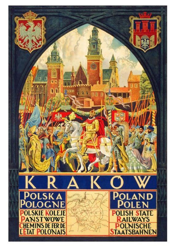 Krakau Polen POSTER: Vintage reizen advertentie door ThePrintArcade