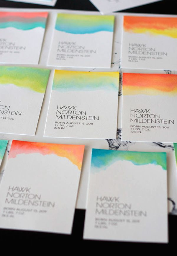 DIY Watercolor Business Cards Gallery: Plus Quick Tips on Making Your Own || Top dip dyed watercolor business cards by Coterie