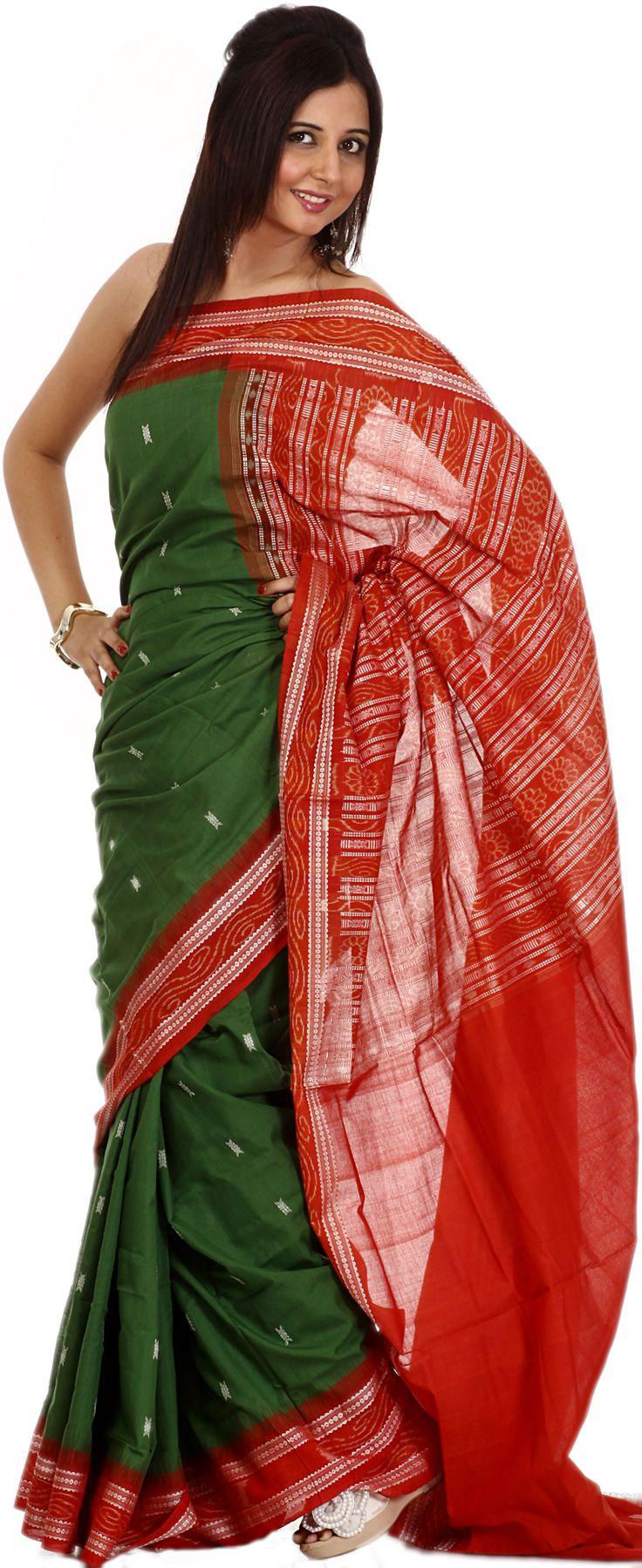 Medium-Green Bomkai Sari from Orissa with All-Over Woven Bootis and Rudraksha Border
