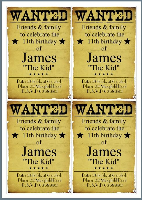free printable birthday invitation - western birthday party - create your own style