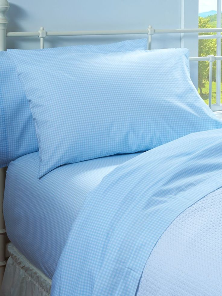 Gingham Check Percale Sheet Set: These crisp, 100% cotton percale sheets will treat you to cool, sleep-filled nights. Plus, the blue gingham checks will brighten up your bedroom, giving it a light, airy feel and plenty of country charm.