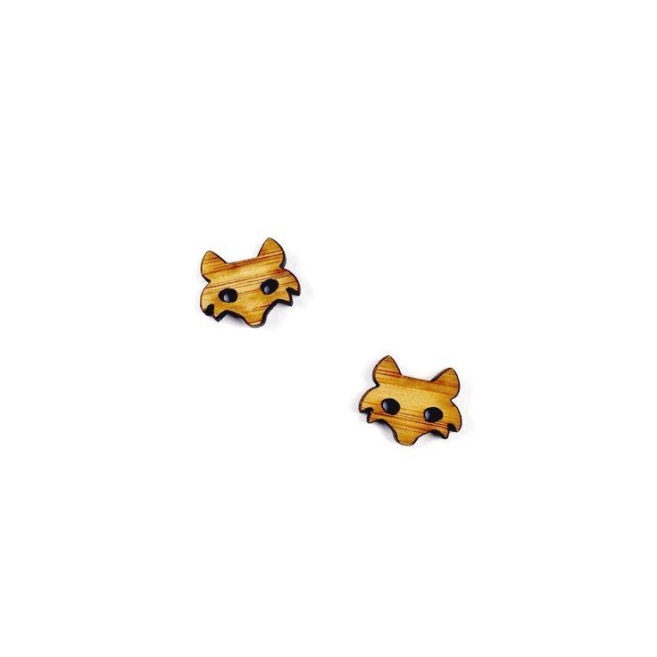 Wood Fox Earrings - Fox Jewelry Animal Earrings Lasercut Boho Animal Lovers Wildlife Vegan Woodland Nature Foxy Gift for Her