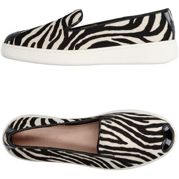 Katie Grand Loves Hogan Low-tops & Sneakers ($300) ❤ liked on Polyvore featuring shoes, sneakers, ivory, hogan sneakers, zebra shoes, ivory flat shoes, leather low top sneakers and low profile sneakers