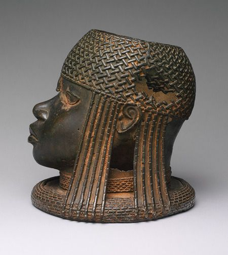 """Head of an Oba, 16th century (ca. 1550) Nigeria; Edo peoples, court of Benin Brass; H. 9 ¼ in. (23.5 cm) Metropolitan Museum of Art: """" The leaders of the kingdom of Benin in present-day Nigeria trace..."""