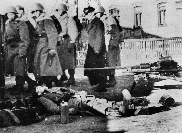 Danish soldier lies dead by the roadblock in Haderslev