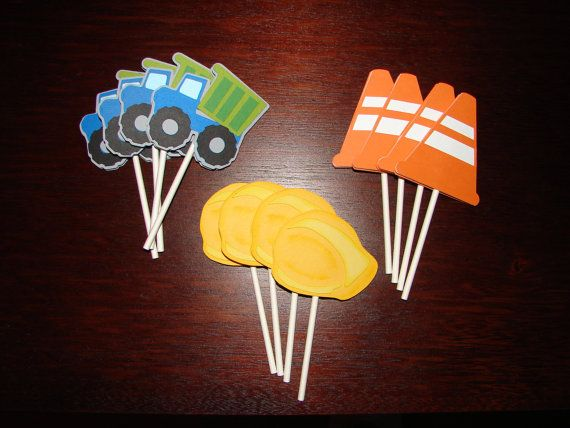 Construction Cupcake Toppers - Party Decorations - Party Supplies on Etsy, $10.00