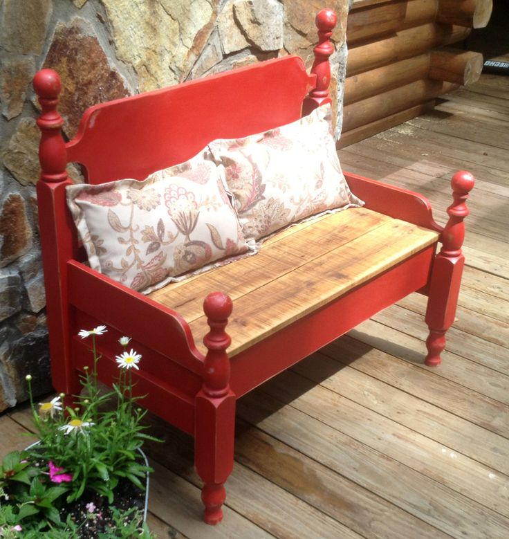 Bench - made from an old twin bed.  Used Red Chalk Paint and the seat it made form oak planks salvaged from wood pallets.    www.fancyhillfurniture.com