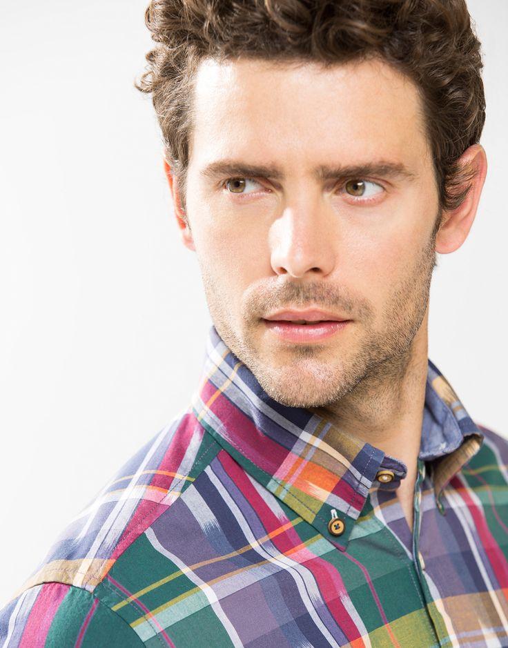 Camisa de lino de Cortefiel #moda #hombre #cortefiel #camisa #lino #cuadros #ropa #color