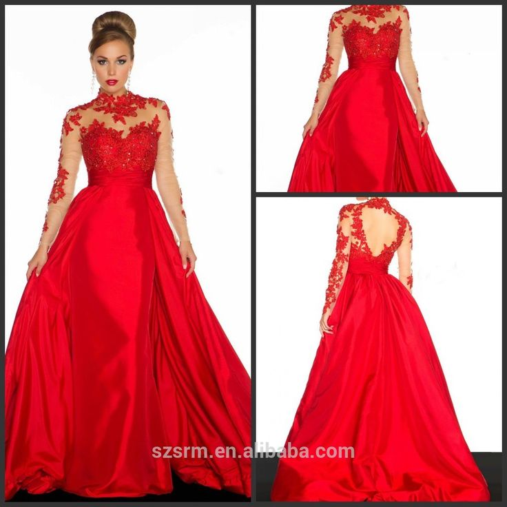 2015 New Design Appliques Ball Gown High Neck Taffeta Red Floor-Length Long Sleeves Evening Dresses CED59