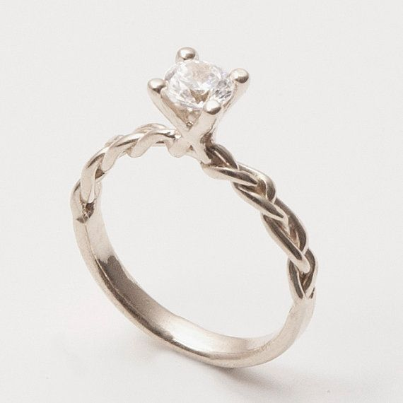 Braided Engagement Ring 14K White Gold and Diamond by doronmerav. Expensive but adorable