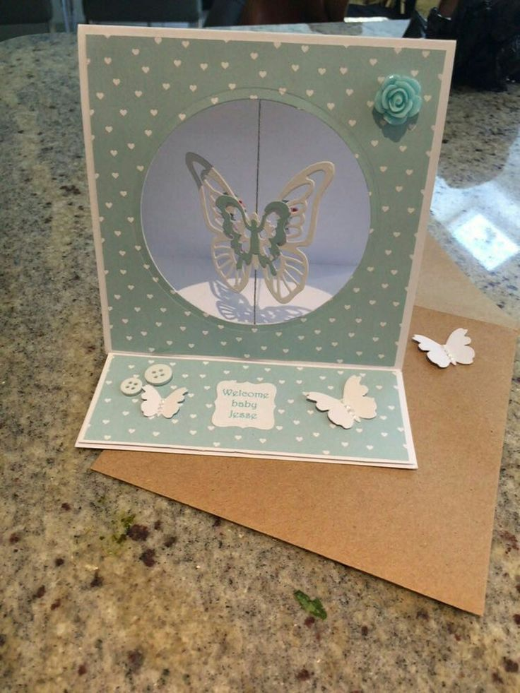 Easel card new baby boy suspended butterfly