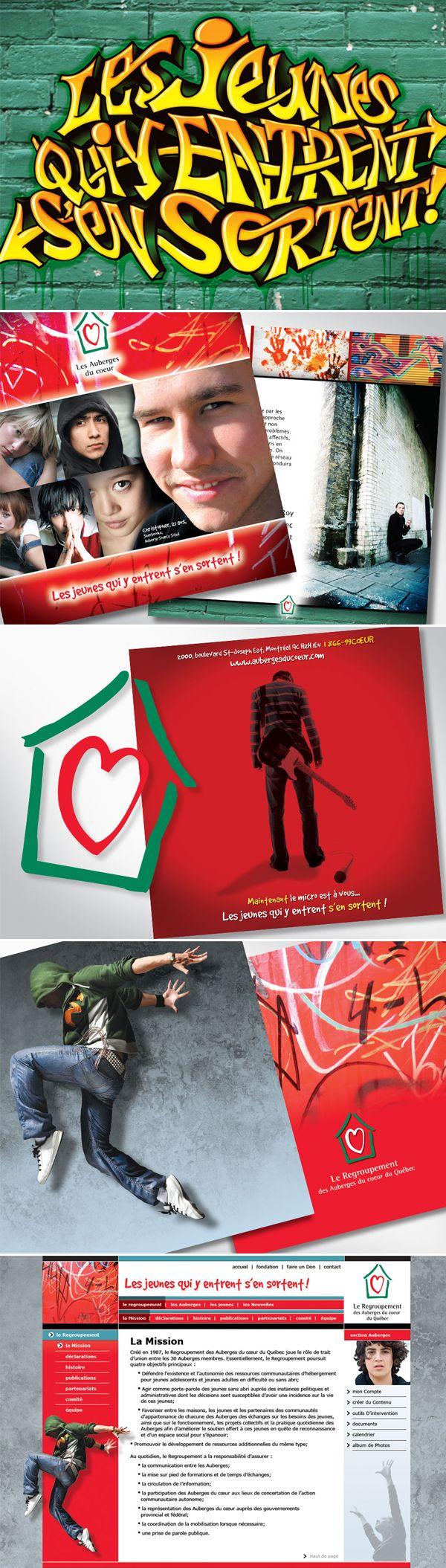 Les Auberges du Cœur  Quelques projets bénévoles avec Le regroupement des Auberges du Cœur du Québec pour une cause qui nous tiens à cœur : les jeunes.  Nous avons développé une nouvelle image en suivant le thème du logo : Les jeunes qui y entrent s'en sortent !