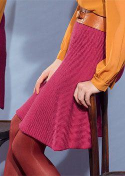 _téléchargez gratuitement les explications de cette jupe trapèze réalisée au point jersey avec la qualité de fil Partner 3,5 de Phildar.