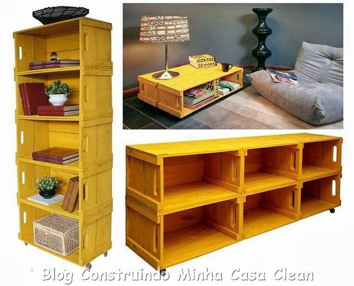 Construindo Minha Casa Clean: Caixotes de Madeira na Decoração! Veja 10 Formas de Reciclagem!