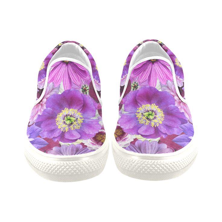 Purple flowers_ Gloria Sanchez1 Women's Unusual Slip-on Canvas Shoes (Model 019)