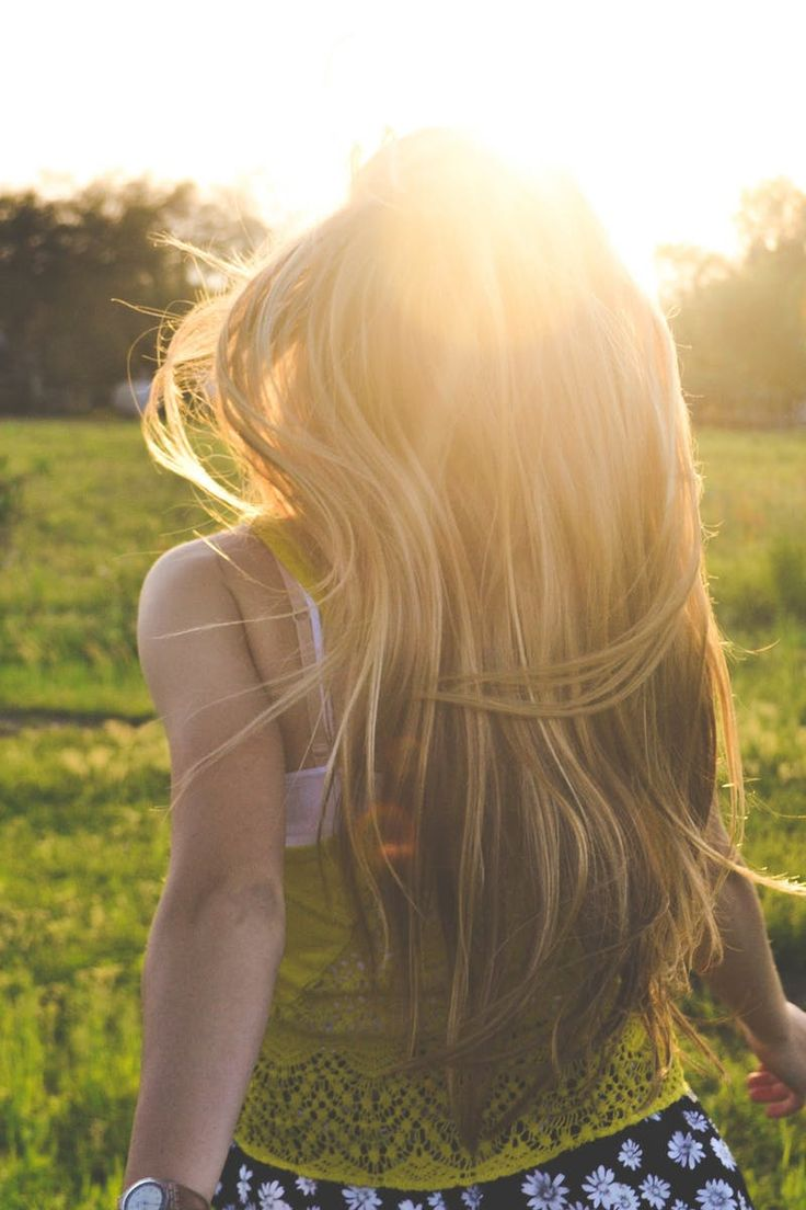 girl, grass, hairs