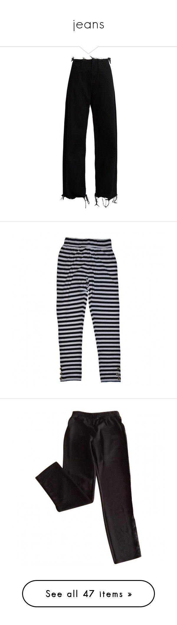 """""""jeans"""" by nicofrg on Polyvore featuring jeans, pants, bottoms, trousers, black, wide leg jeans, denim jeans, frayed edge jeans, wide leg denim jeans y jc de castelbajac"""
