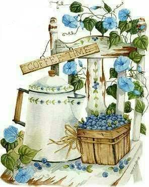 .Coffee Time with blueberries painting by Diane Knott