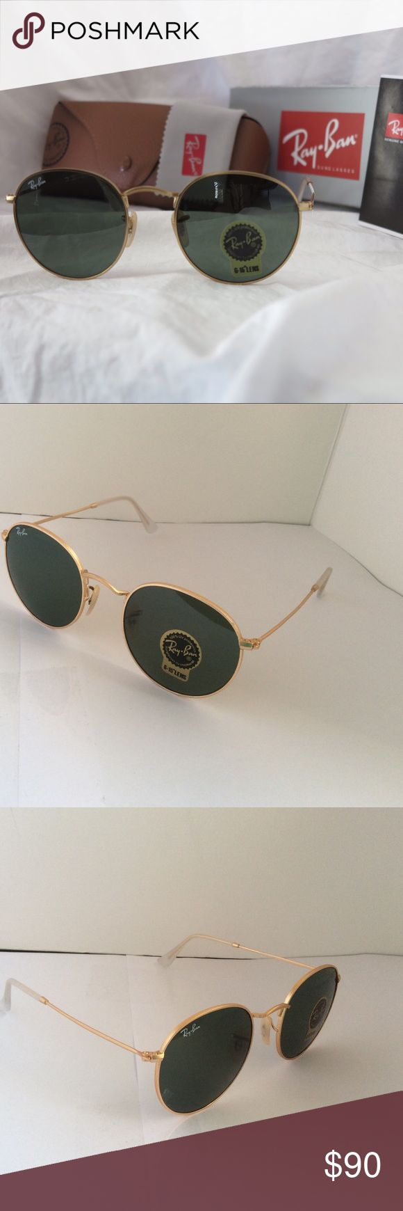 Ray-Ban John Lennon style round 🕶 in gold/g-15 New Ray-Ban Unisex Sunglasses John Lennon Style. RB3447 001 50-21 Gold Metal Frame. Green Classic G-15 Lenses. Made in Italy. Glasses come with outer box, hard case, cleaning cloth and informational booklets.   The Ray-Ban Round Metal sunglasses are totally retro. This look has been worn by legendary musicians and inspired by the 1960s counter-culture when this style first originated.The Ray-Ban unisex metal, iconic sunglasses are known for…