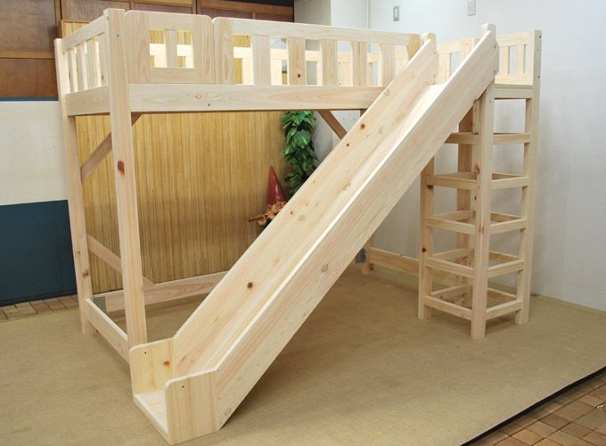Wooden Loft Bed with Slide. Perfect way to start your day!...