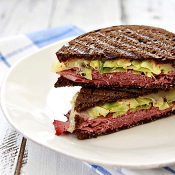 Reuben Panini.  Great idea for left over St Patty's day