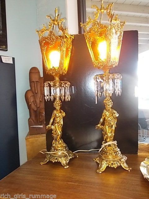 Vintage Ornate Cherub Lamps With Glass Amp Crystal Tall
