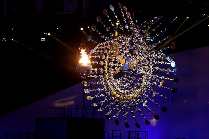 The Olympic Cauldron is lit alongside a sculpture by Anthony Howe at the Rio 2016 Olympic Games at Maracana Stadium. Courtesy of Christian Petersen/Getty Images.
