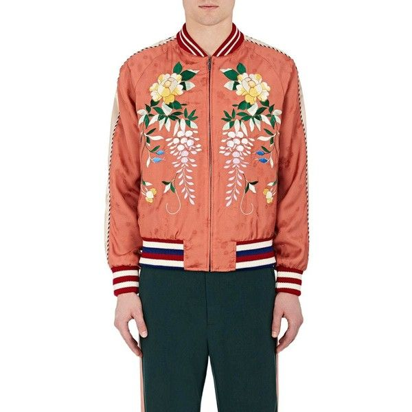 Gucci Men's Flower-Embroidered Bomber Jacket (€2.345) ❤ liked on Polyvore featuring men's fashion, men's clothing, men's outerwear, men's jackets, no color, mens floral bomber jacket, mens long jacket, mens flight jacket, mens long bomber jacket and men's embroidered bomber jacket