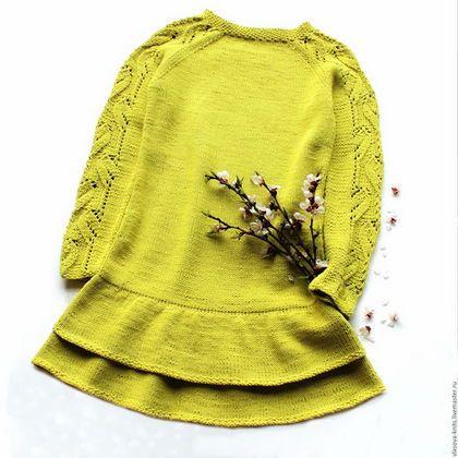 Knitted dress for girl / Одежда для девочек, ручной работы. Ярмарка Мастеров - ручная работа. Купить Платье из хлопка. Handmade. Салатовый, платье для девочки, из хлопка