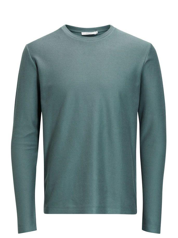 Structured sweatshirt in balsam green, minimally styles, slim fit, cotton blend style | JACK & JONES