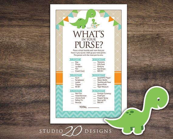 """Instant Download Dinosaur Baby Shower Games by Studio20Designs. This printable dinsoaur What's In Your Purse baby shower game comes 2-up on an 8.5""""x11"""" sheet for easy printing. Guests place a check beside each item they have in their purse. Whoever has the most total points at the end wins!"""