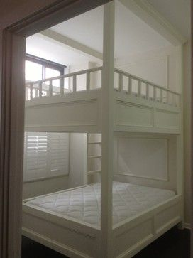 Custom Designed and Built Queen Size Bunk Bed modern.  Would love this as a loft with no bottom bunk, too.