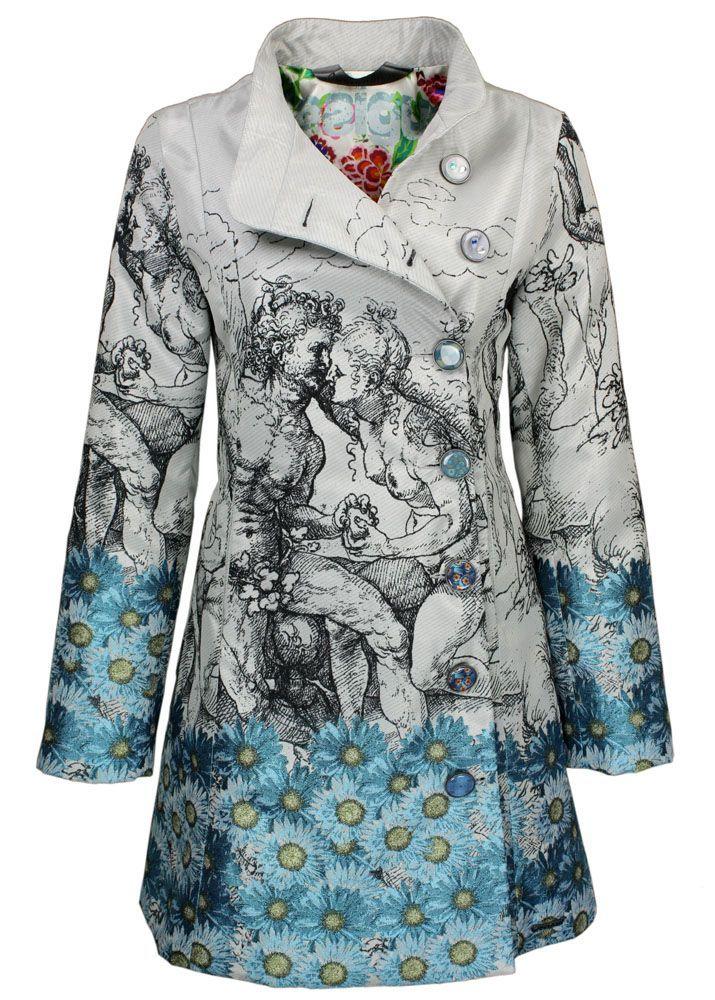 desigual mantel modell lady blue blau mit edlen