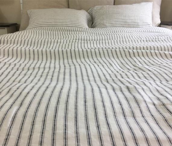 Iron And Whites Striped Linen Duvet Cover Weaved Striped Etsy In 2021 Striped Duvet Covers Linen Duvet Linen Duvet Covers