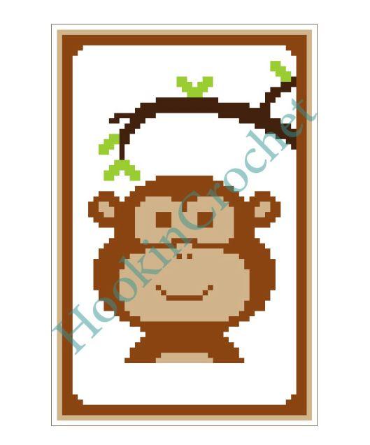 HookinCrochet Monkey Cot Crib C2C Graph Pattern