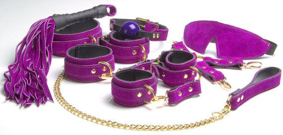 Bondage Rubber Ball Gag Purple Leather Gag van Oddoleather op Etsy
