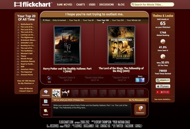 Flickchart is a fun and addictive website where you rank movies to create lists of the best movies of all time- or sorted by year, decade, genre, actors, directors, most debated, or any combination you can dream up. You can also discover how many movies you've seen, which are the best you haven't seen, and all kinds of incredible statistics. Discuss & debate the toughest, craziest, funniest, easiest, and most ironic matchups, and find like-minded movie fans who share your tastes in film.