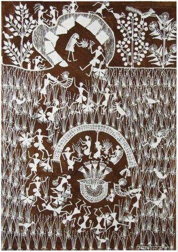 """Jivya Soma Mashe,  Cette toile  est l'illustration d'un culte de fécondité nommé """"Ravaal""""."""
