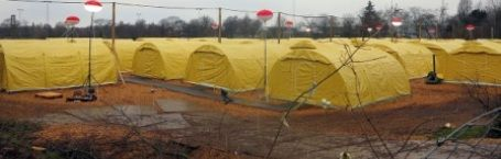 The new tent city outside Naestved on Sealand in Denmark. One of many new tent cities built all over Denmark to house refugees on a temp basis until the European Union has permanent distributed refugees which will take an estimated 270 years if the present pace is kept up.