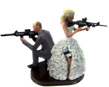 Armed Couple with rifles cake topper ..... So happening