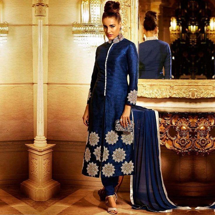 Buy Blue Bhagalpuri Silk Suit - Latest Ethnic Suit Online Shopping at Peachmode
