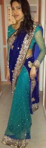 Me In A Royal Blue Half Velvet  Half Net Kundan Work Saree