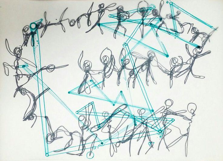 손연재의 리듬체조를 표현한 작품과 칵테일을 만드는 손동작의 발전된 표현을 겹쳐보았다. 의도하지 않은 조화로움이 보였고 선적인 요소들의 결합임에도 부족함이 없는 듯 하다.