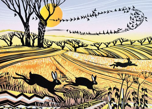 'Starlings and Hares' By Rob Barnes.  Blank Art Cards By Green Pebble.