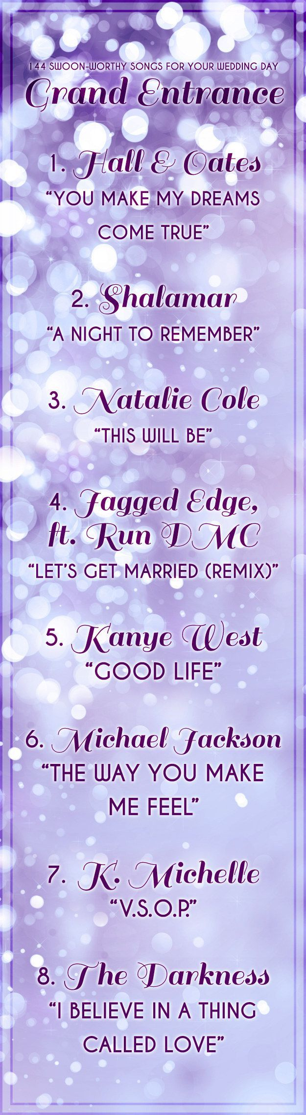 144 Swoon-Worthy Songs For Every Part Of Your Wedding Day, especially, Hall & Oates, Michael Jackson, and the Darkness