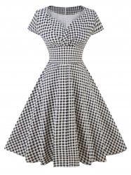 Vintage Plaid Skater Pin Up Dress